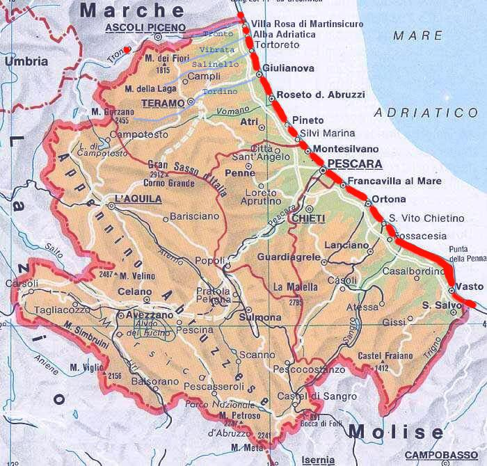 Cartina Abruzzo Molise Mare.Pista Ciclabile In Abruzzo